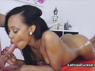 Portuguese hottie blows masseurs oily dick