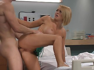 Horny patient persuades hot blonde nurse Krissy Lynn to be crazy surrounding him