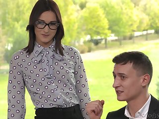 Mina K gets her holes fucked by means of the double astuteness threesome