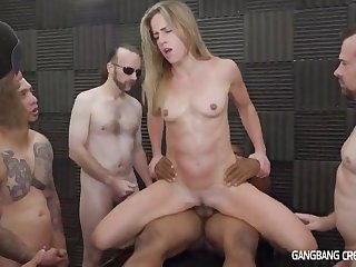 Small chest mom in gangbang orgy with creampie cumshots