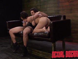 Big breasted bondage slut Kimmy Lee is brutally mouth fucked by stud