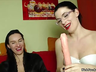 Milf lesbians effectuation with dildo on cam