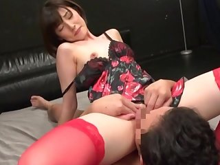 Japanese with aphoristic tits, nimble hardcore added to oral sex