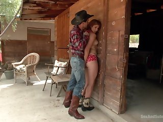 Gagged country babe tries BDSM with the cowboy