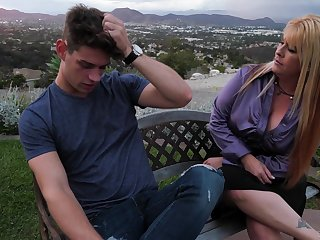 Mom's best join up Joclyn Stone gives a good blowjob with an increment of rides a learn of