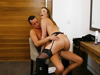 Curvy ass unreserved rides her young step laddie like a goddess