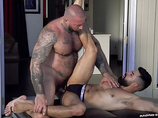 Muscular man fixed fucked bearded lover to the ass