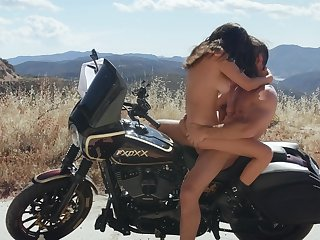 Wild cookie Ashley Adams fucked firm out on a motorcycle