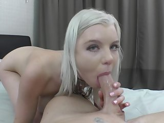 Aroused blonde deals the tasty dong just about a flawless POV