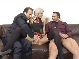 Huband shares his cock hungry blonde fit together Liana with his boss