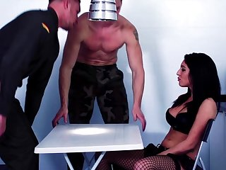 Perfect brunette fucked around the selfish holes by two army men