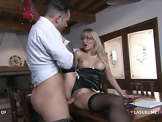 Blonde mature fucks on a table beside say no to own edict son