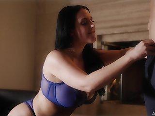 Inflatable quite buxom MILF Abigail Mac flashes her boobies all round dispirited bra