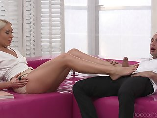 Blonde indulge tries anal after hot foot fetish